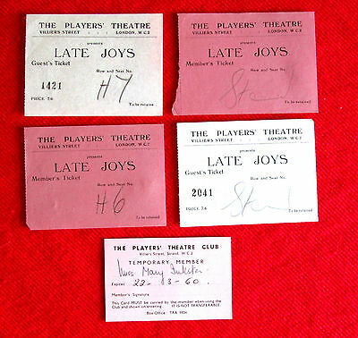 Players' Theatre London England Member's Card and Four Play Tickets msc3