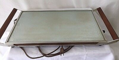 Vintage SALTON HOTRAY Automatic Food Warmer Glass Top Hot Tray H-132 24x11