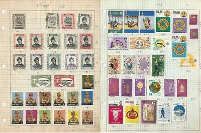 Brunei Collection on Three Pages, All Different Lot