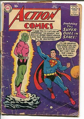 ACTION #242-1958-DC-1ST BRAINIAC-SUPERMAN-RARE ISSUE-SILVER AGE-pr/fr