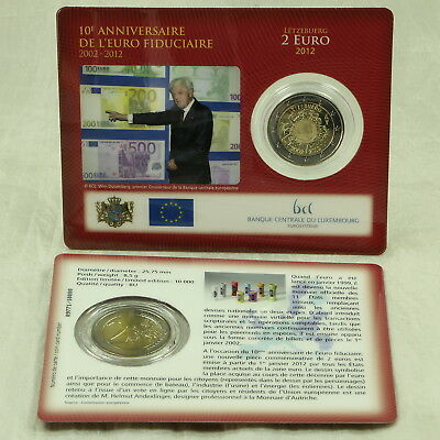 2 Euro Münze Coin Card Coincard Luxemburg Luxembourg 10 J. Bargeld Cash 2012 St