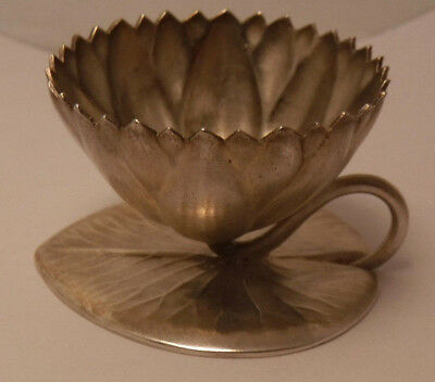 WHITING ANTIQUE STERLING SILVER FIGURAL LILY PAD AESTHETIC SALT CELLAR pristine!