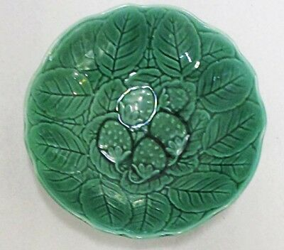 Pair Of Green Fondeville Ceramic Bowls With Strawberry Pattern