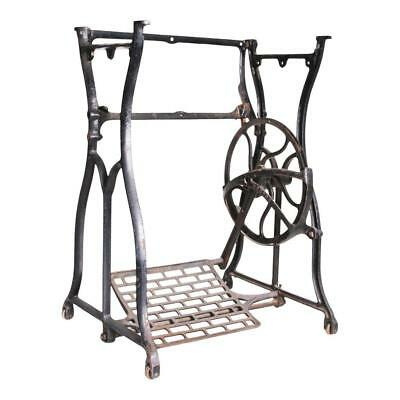 Antique CAST IRON Treadle Base table sewing machine black old vintage industrial