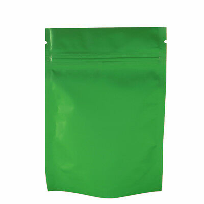 Double-Sided Green Stand Up Mylar Zip Lock Resealable Bags Multiple Quantities