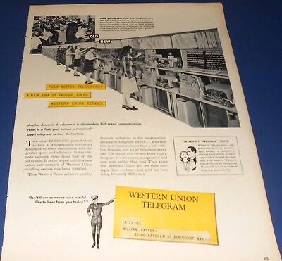 1947 WESTERN UNION TELEGRAM new push-button Ad Switching Clerks photos then/now