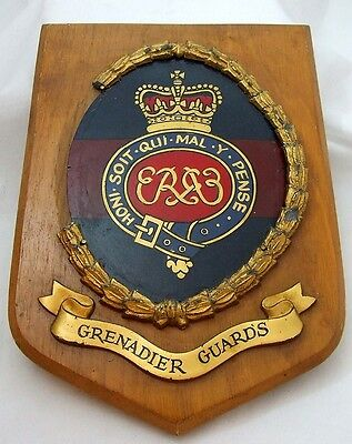 Large QE11 Grenadier Guards Wooden Plaque - Some DAMAGE - 497g