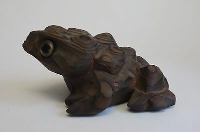 Vintage Cryptomeria Wood FROG Figurine HORNY TOAD by OMC Japan w/ Label