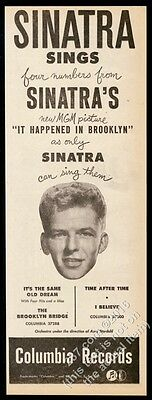 1947 Frank Sinatra photo Columbia Records vintage trade print ad