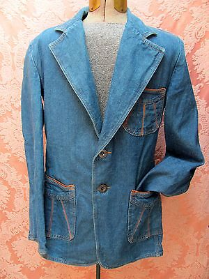 VTG 1970s *CHESS KING DISCO SWAG Mens BRITTANIA LEATHER TRIM DENIM BLAZER* Sz-M