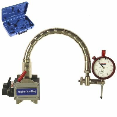"Magnetic Base Dial Indicator 1""/.001"" Flexible Arm Contour Uneven Any Surface"