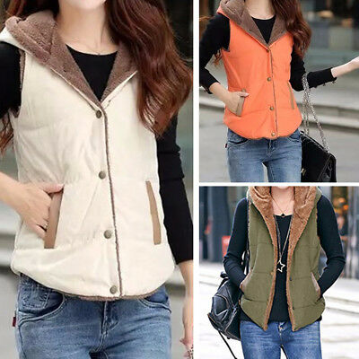 Women Ladies Casual Style Autumn Winter Vest Cottom Coat Solid Top M-3XL US