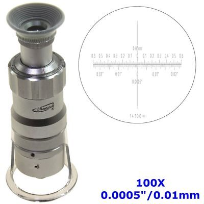 """Measuring Microscope 100X 0.0005""""/0.01mm Magnifier Loupe Scale LED Lighted"""