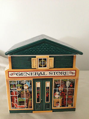 Christmas General Store Cookie/Candy Jar 1982 Avon McConnell's Corner 5.5 x 5.25