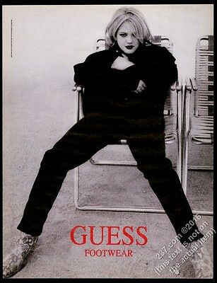 1993 Drew Barrymore photo Guess fashion footwear shoes boots vintage print ad