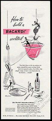 1947 Bacardi Cuban Cuba Rum cocktail recipe and art vintage print ad