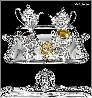 HENIN : Stunning Antique French Sterling Silver Tea Coffee Set MASCARONS, Tray