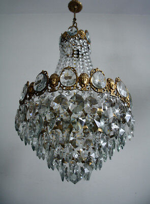 Antique French Basket Style CAST Brass & Crystals Chandelier 1950's EXTRA RARE !