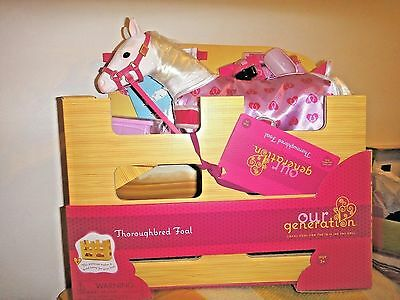 """Our Generation  White Thoroughbred Foal horse /w Accessories For 18"""" Doll new"""