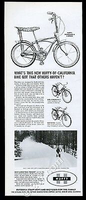 1964 Huffy Dragster II 3-speed banana seat bike & snow thrower vintage print ad