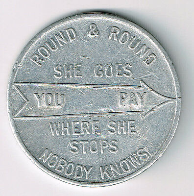 Round And Round She Goes Where She Stops Nobody Knows Spinner Token Blank Back