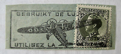1931 BELGIUM USE THE AIRMAIL PICTORIAL SLOGAN AIRPLANE CANCEL King Leopold Stamp