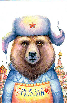 BEAR FROM RUSSIA IN WINTER OUTFIT Modern Russian postcard