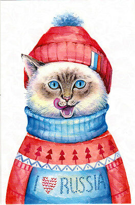 CAT FROM RUSSIA IN WINTER OUTFIT Modern Russian postcard