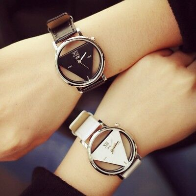 Fashion Harajuku Spell Color Analog Big Dial Men Women Triangle Watch Dress Cloc