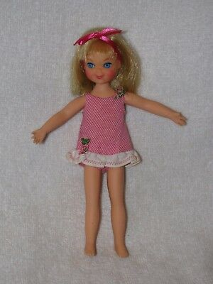 """Vintage Mattel 6"""" Blonde Hair Tutti Doll In Tagged Pink Checked Dress"""