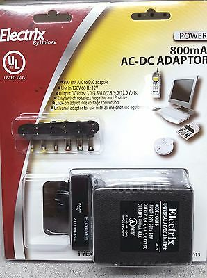 BRAND NEW Uninex Electrix CV015 500mA AC to DC Adaptor with 6 Plugs
