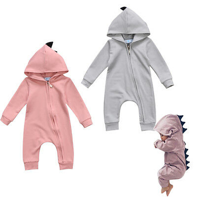 Newborn Baby Boy Girl Dinosaur Hooded Romper Bodysuit Playsuit Outfit Clothes UK
