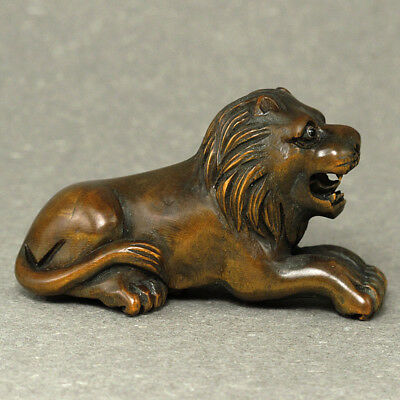Boxwood Netsuke LION Figurine Carving (WN114)