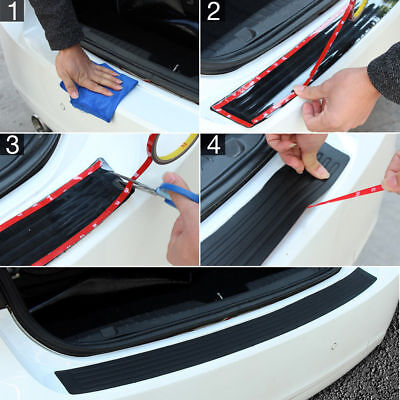 Useful Rubber Car Rear Bumper Sill Protector Plate Trim Cover Pad Moulding Trim