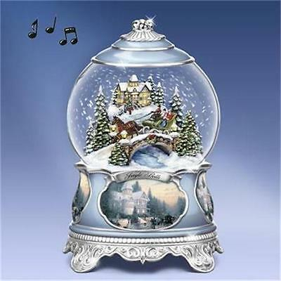 THOMAS KINKADE Jingle Bells MUSICAL Snowglobe Lights Up NEW