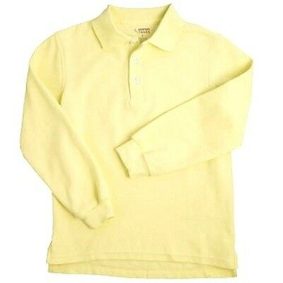 Light Yellow Long Sleeve Polo Shirt 20 Unisex French Toast School Uniforms New