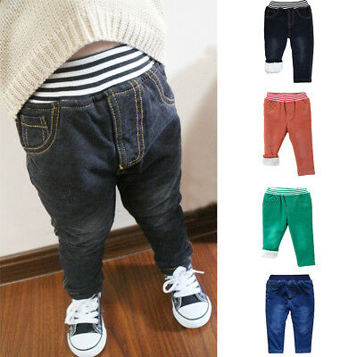 Kids Baby Boys Winter Warm Denim Casual Pants Thick Trousers Children Jeans
