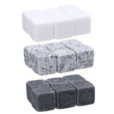 6 Natural Whiskey Stones Sipping Ice Cube Whisky Stone E0Xc