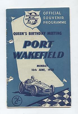 1958 Port Wakefield Programme Racing Touring Sports Motorcycle Car