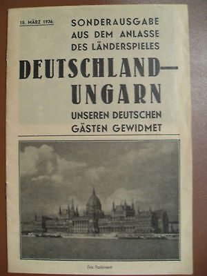 1936 Hungary - Germany / DFB / Germany - Special Edition for the Game / Original