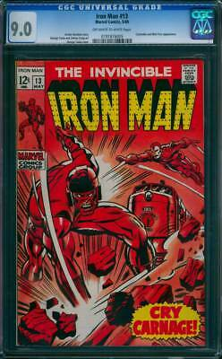 Iron Man # 13  Cry Carnage !  CGC 9.0 scarce book !