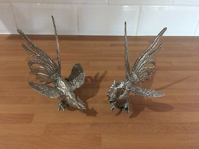 vintage superb pair of silver plated fighting birds / cock / cockerels