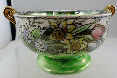 Small Maling Twin Handle Green Lustre Spring Flowers Bowl (Ref A5)
