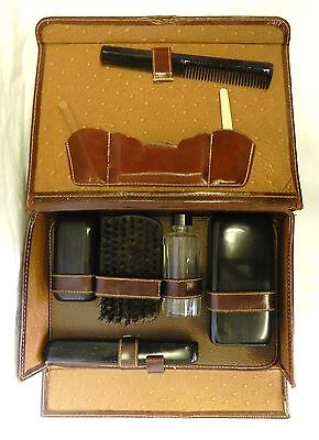 Vintage Men's Travel Luggage Kit Case Brush Grooming Toiletry Brown Leather