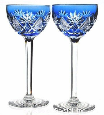 """Val ST Lambert Cobalt Blue Cut to Clear Crystal Wine Goblets Pair Vintage 7.5"""""""