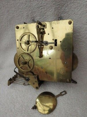 Vintage Fhs Westminster Chime Mantel Clock Movement, Hands, And Pendulum