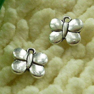 free ship 80 pieces tibetan silver butterfly charms 13x11mm #2939
