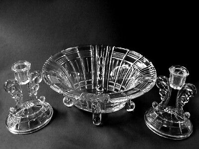 Indiana Glass Footed Console Set Bowl & 2 Single Light Candle Holders Crystal