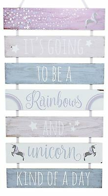 7 Tier Hanging Wooden Unicorn Plaque Sign ~ Rainbows And Unicorn