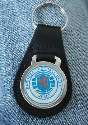 Vintage Glasgow Rangers FC Team Badge Football Club Leather Fob Keyring